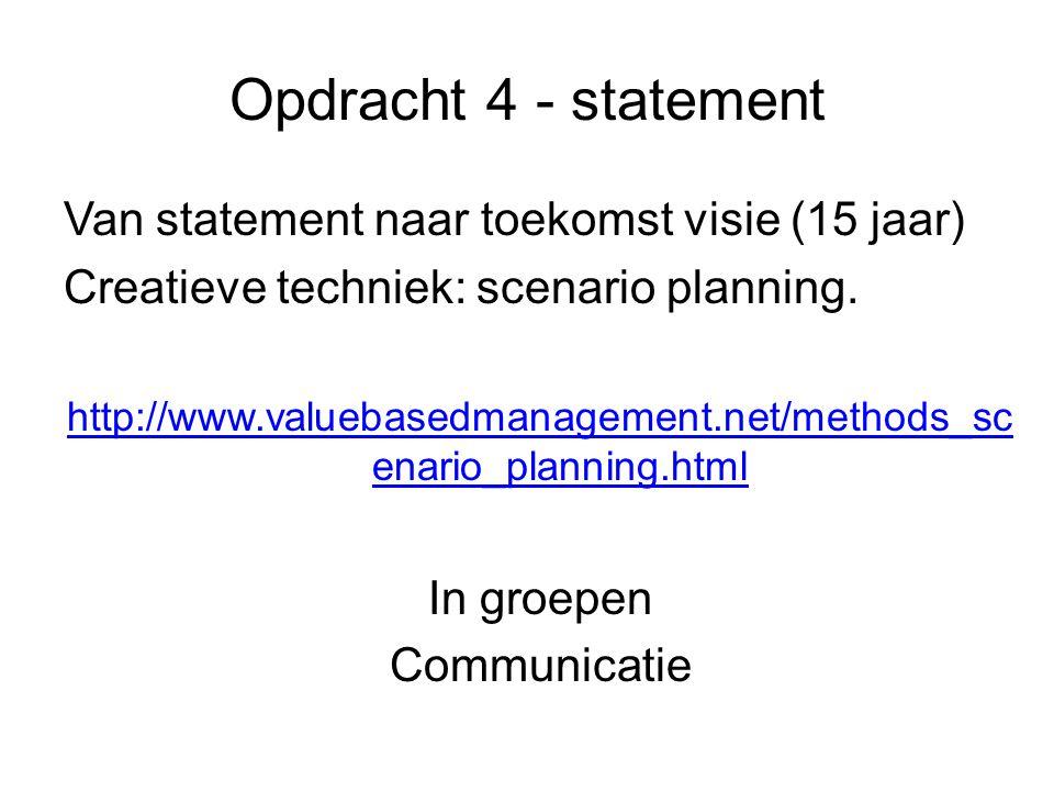Opdracht 4 - statement Van statement naar toekomst visie (15 jaar) Creatieve techniek: scenario planning.
