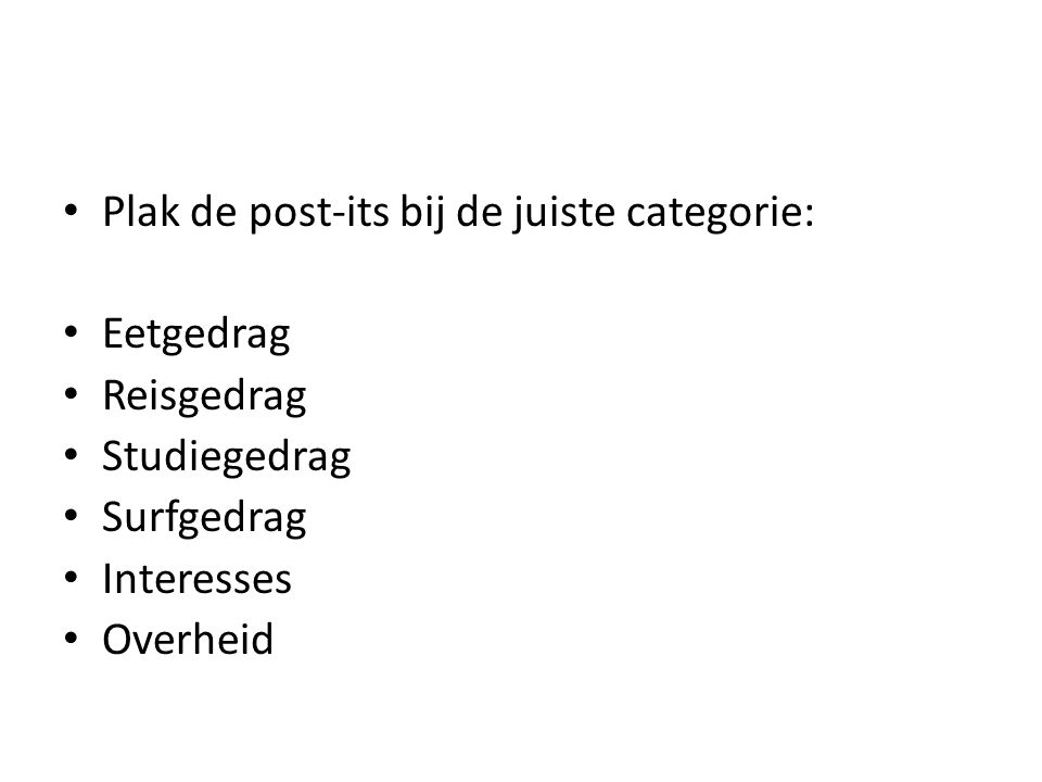 Plak de post-its bij de juiste categorie: Eetgedrag Reisgedrag Studiegedrag Surfgedrag Interesses Overheid