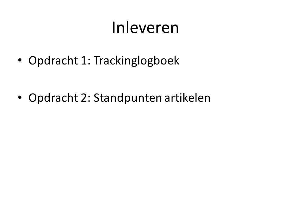Inleveren Opdracht 1: Trackinglogboek Opdracht 2: Standpunten artikelen