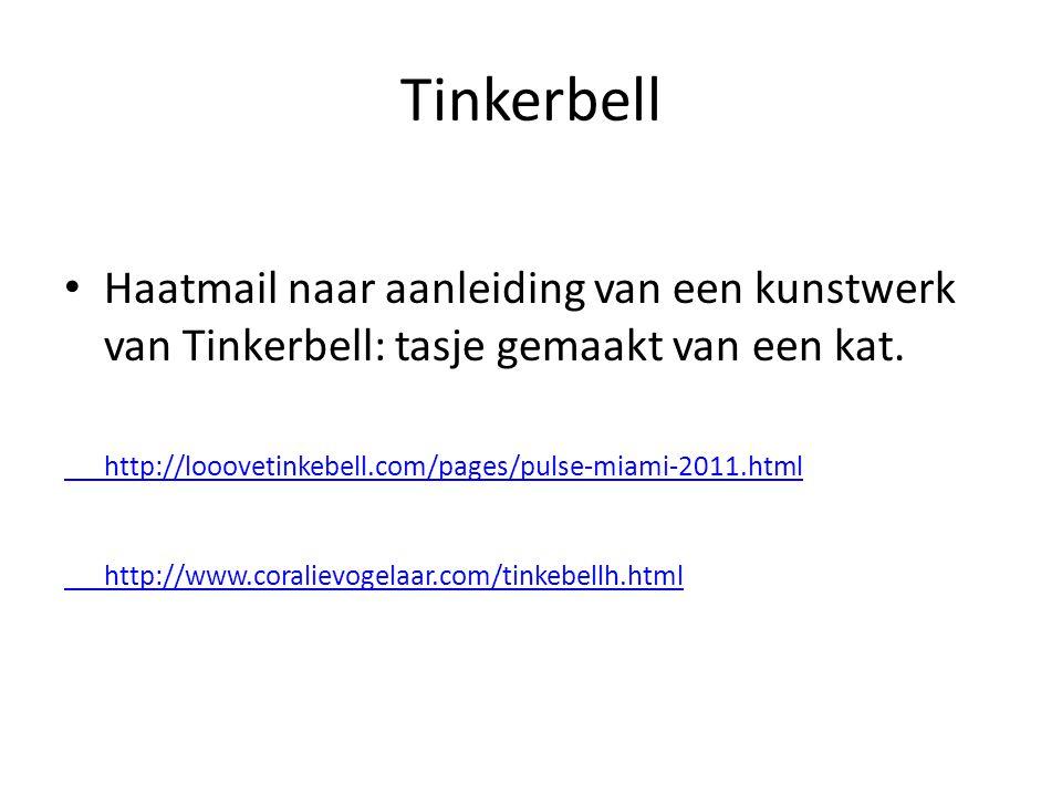 Tinkerbell Haatmail naar aanleiding van een kunstwerk van Tinkerbell: tasje gemaakt van een kat.
