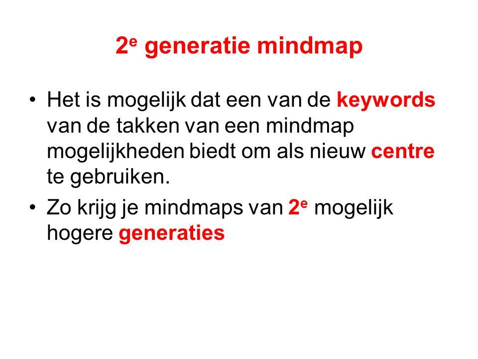 2 e generatie mindmap Het is mogelijk dat een van de keywords van de takken van een mindmap mogelijkheden biedt om als nieuw centre te gebruiken.