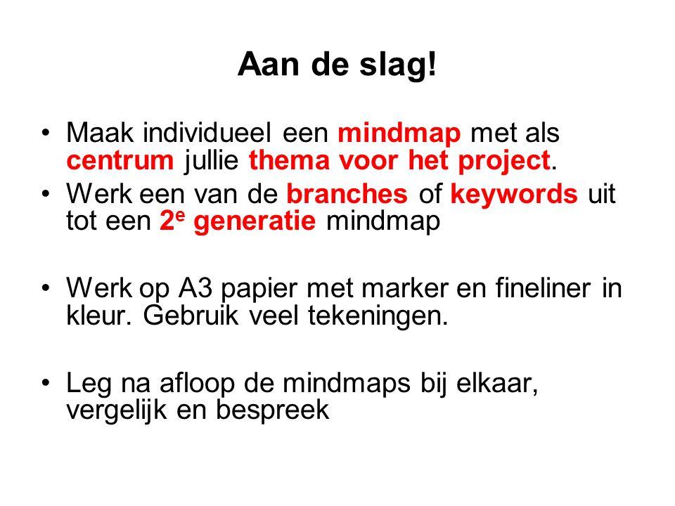 Aan de slag. Maak individueel een mindmap met als centrum jullie thema voor het project.
