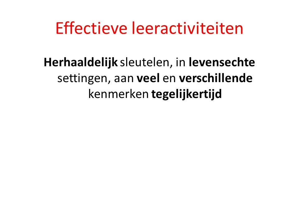 Effectieve leeractiviteiten Herhaaldelijk sleutelen, in levensechte settingen, aan veel en verschillende kenmerken tegelijkertijd