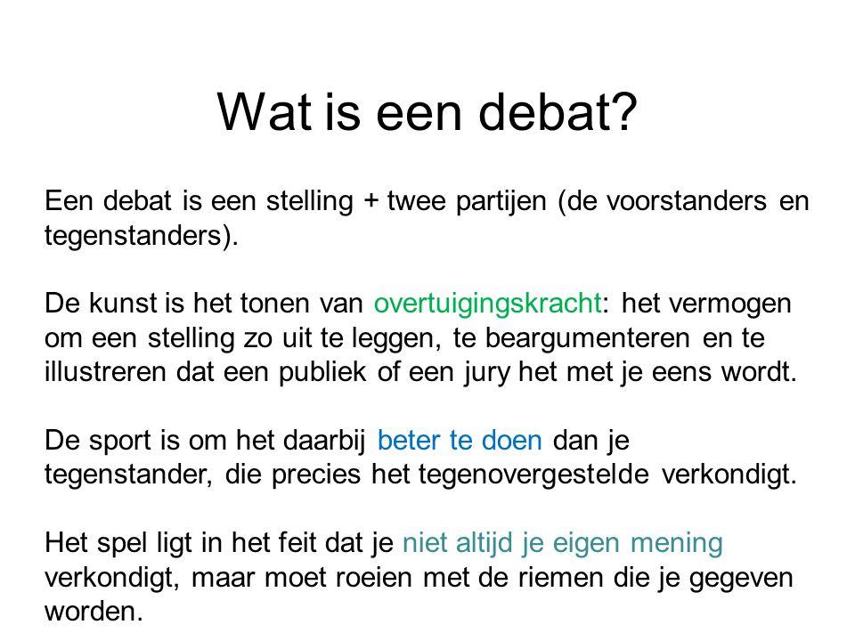 Wat is een debat? Een debat is een stelling + twee partijen (de voorstanders en tegenstanders). De kunst is het tonen van overtuigingskracht: het verm