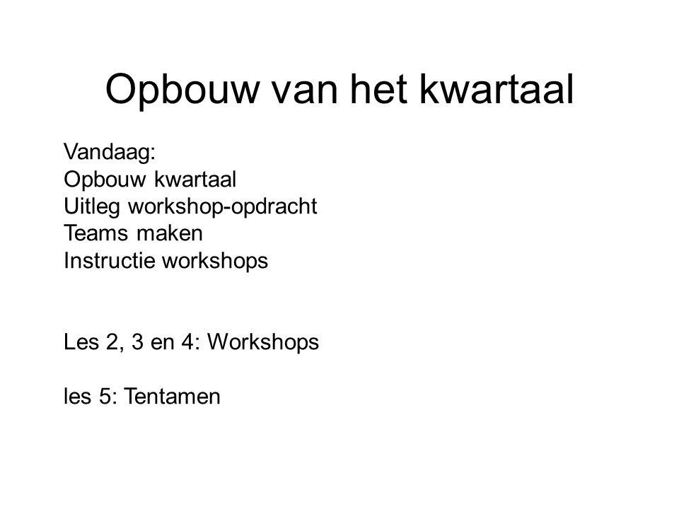 Opbouw van het kwartaal In deze module organiseren jullie in teamverband drie maal een workshop.
