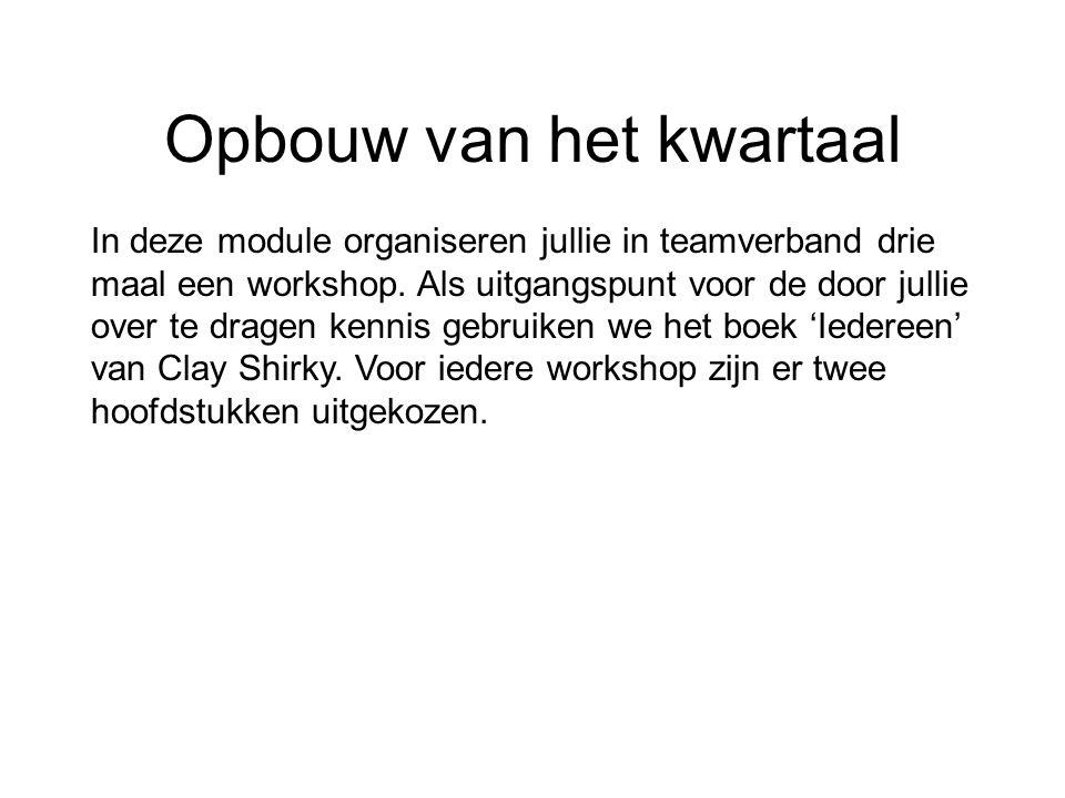Opdracht 1: Organiseer een Workshop Een workshop is een activiteit die door bedrijven en andere partijen ingezet wordt om de deelnemers ervan specifieke kennis aan te leren of over te dragen.