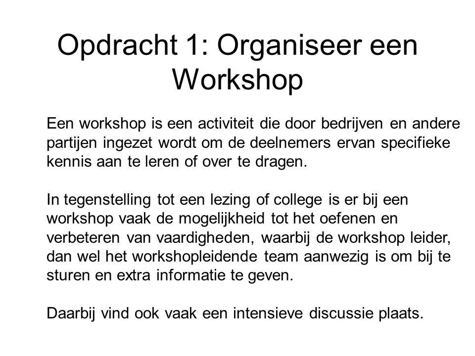 Opdracht 1: Organiseer een Workshop De workshop verloopt via een vast format: 20 min Presentatie In een presentatie draag je met je team de theorie uit de door jullie bestudeerde hoofdstukken.