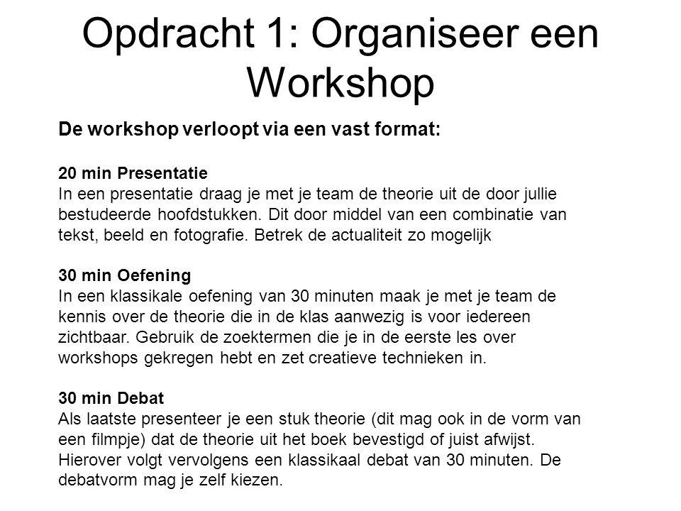 Opdracht 1: Organiseer een Workshop De workshop verloopt via een vast format: 20 min Presentatie In een presentatie draag je met je team de theorie ui