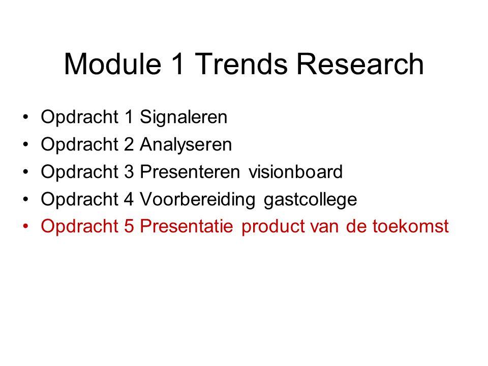 Module 1 Trends Research Opdracht 1 Signaleren Opdracht 2 Analyseren Opdracht 3 Presenteren visionboard Opdracht 4 Voorbereiding gastcollege Opdracht 5 Presentatie product van de toekomst