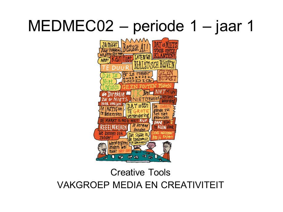 MEDMEC02 – periode 1 – jaar 1 Creative Tools VAKGROEP MEDIA EN CREATIVITEIT