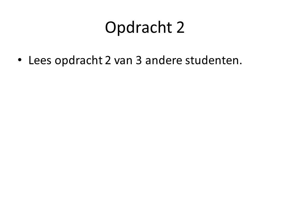 Opdracht 2 Lees opdracht 2 van 3 andere studenten.