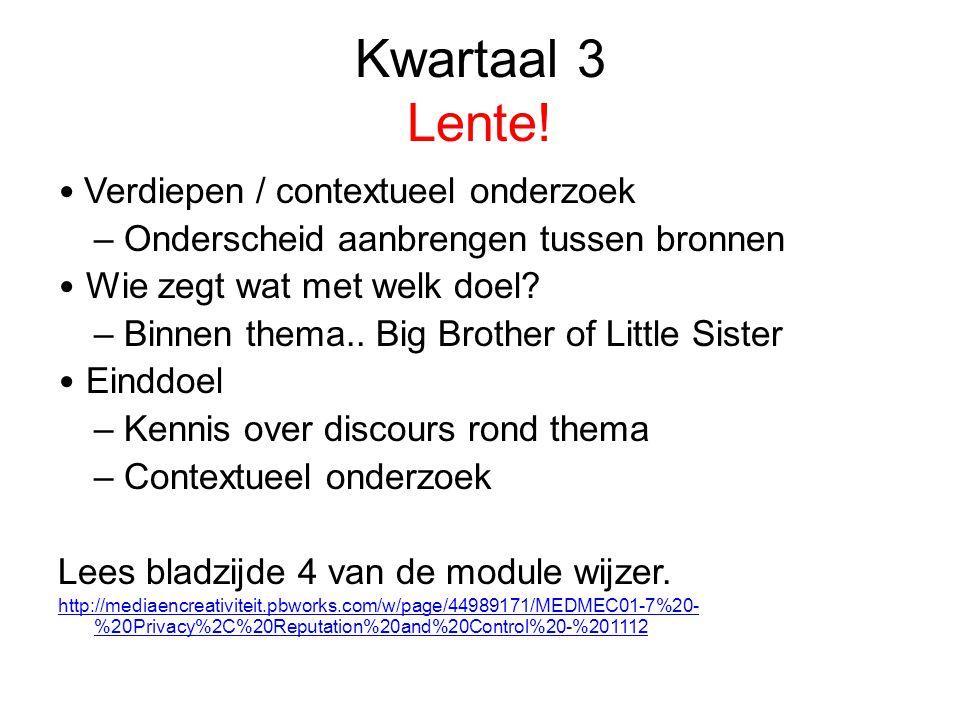 Kwartaal 3 Lente! Verdiepen / contextueel onderzoek – Onderscheid aanbrengen tussen bronnen Wie zegt wat met welk doel? – Binnen thema.. Big Brother o