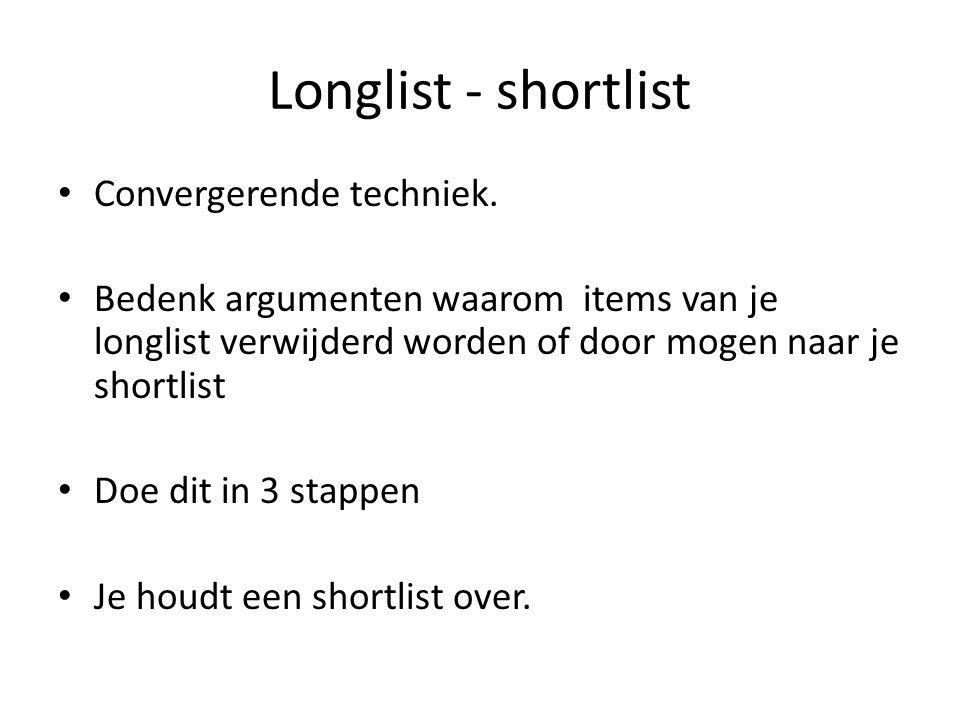 Longlist - shortlist Convergerende techniek. Bedenk argumenten waarom items van je longlist verwijderd worden of door mogen naar je shortlist Doe dit