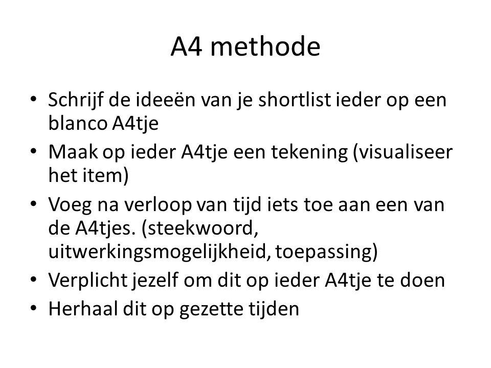 A4 methode Schrijf de ideeën van je shortlist ieder op een blanco A4tje Maak op ieder A4tje een tekening (visualiseer het item) Voeg na verloop van ti