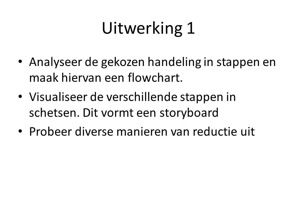 Uitwerking 1 Analyseer de gekozen handeling in stappen en maak hiervan een flowchart. Visualiseer de verschillende stappen in schetsen. Dit vormt een