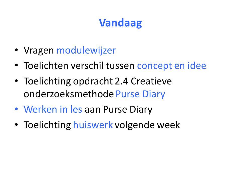 Vandaag Vragen modulewijzer Toelichten verschil tussen concept en idee Toelichting opdracht 2.4 Creatieve onderzoeksmethode Purse Diary Werken in les aan Purse Diary Toelichting huiswerk volgende week