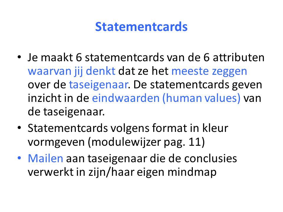 Statementcards Je maakt 6 statementcards van de 6 attributen waarvan jij denkt dat ze het meeste zeggen over de taseigenaar.