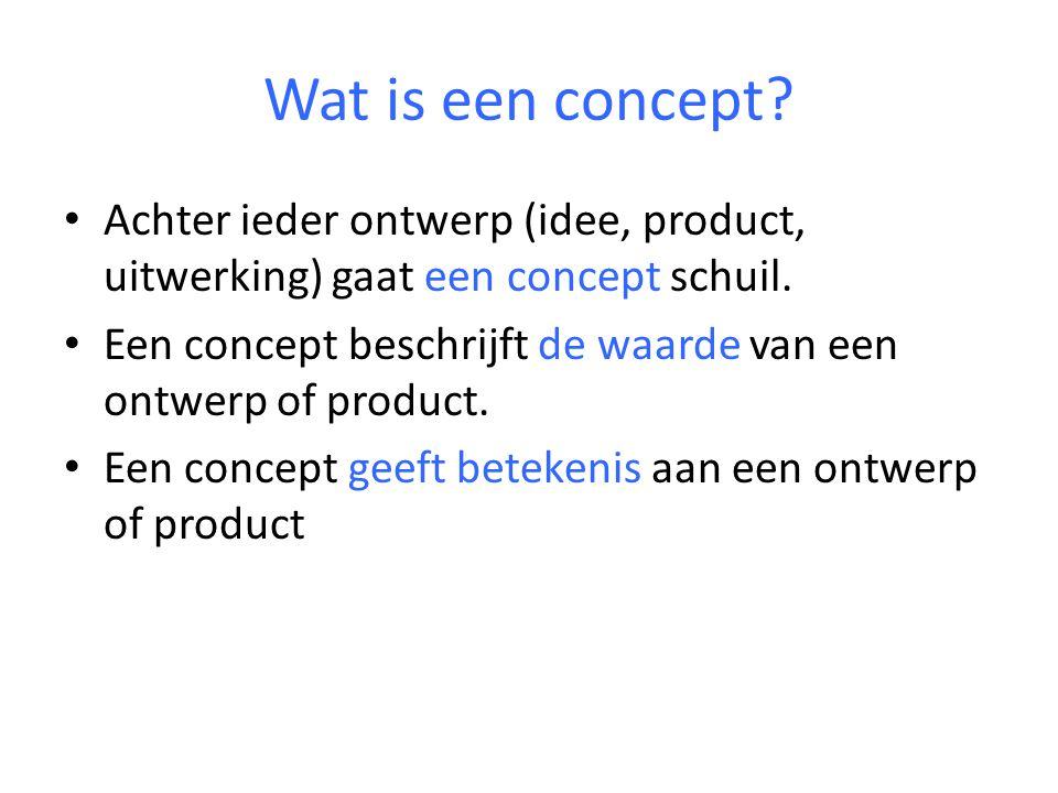 Wat is een concept. Achter ieder ontwerp (idee, product, uitwerking) gaat een concept schuil.
