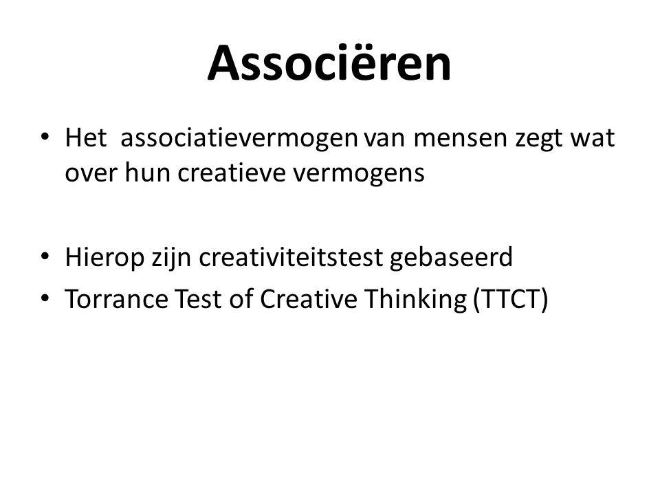Associëren Het associatievermogen van mensen zegt wat over hun creatieve vermogens Hierop zijn creativiteitstest gebaseerd Torrance Test of Creative T