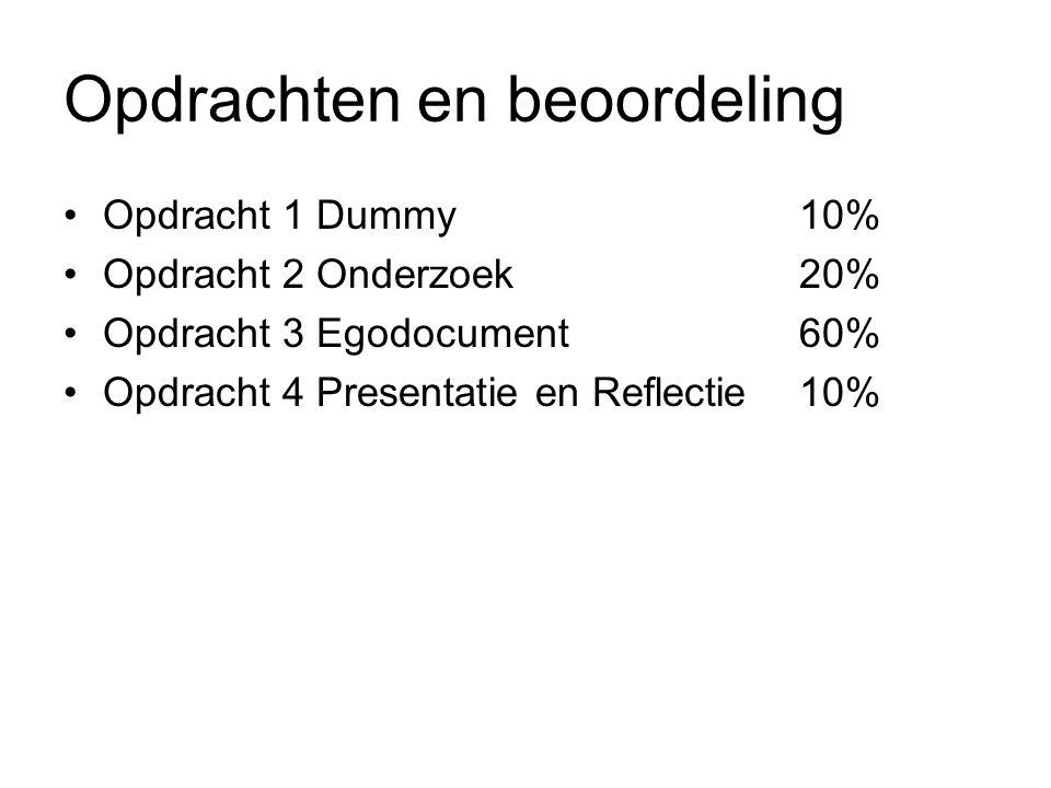 Opdrachten en beoordeling Opdracht 1 Dummy10% Opdracht 2 Onderzoek20% Opdracht 3 Egodocument60% Opdracht 4 Presentatie en Reflectie10%