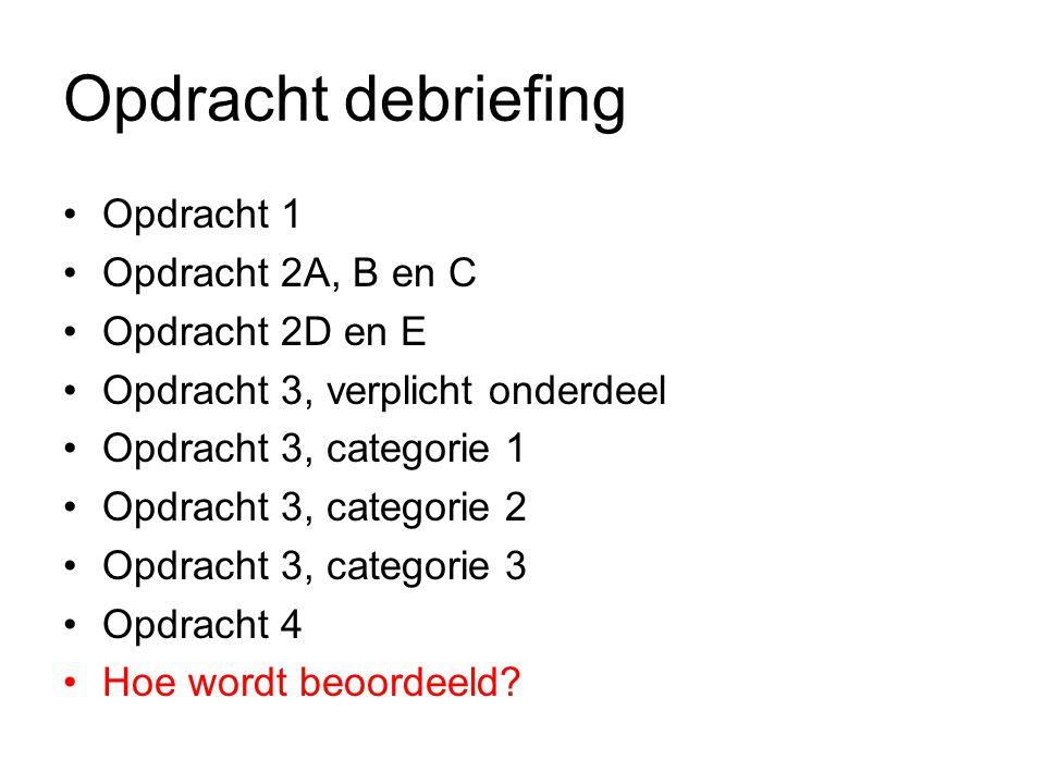 Opdracht debriefing Opdracht 1 Opdracht 2A, B en C Opdracht 2D en E Opdracht 3, verplicht onderdeel Opdracht 3, categorie 1 Opdracht 3, categorie 2 Opdracht 3, categorie 3 Opdracht 4 Hoe wordt beoordeeld