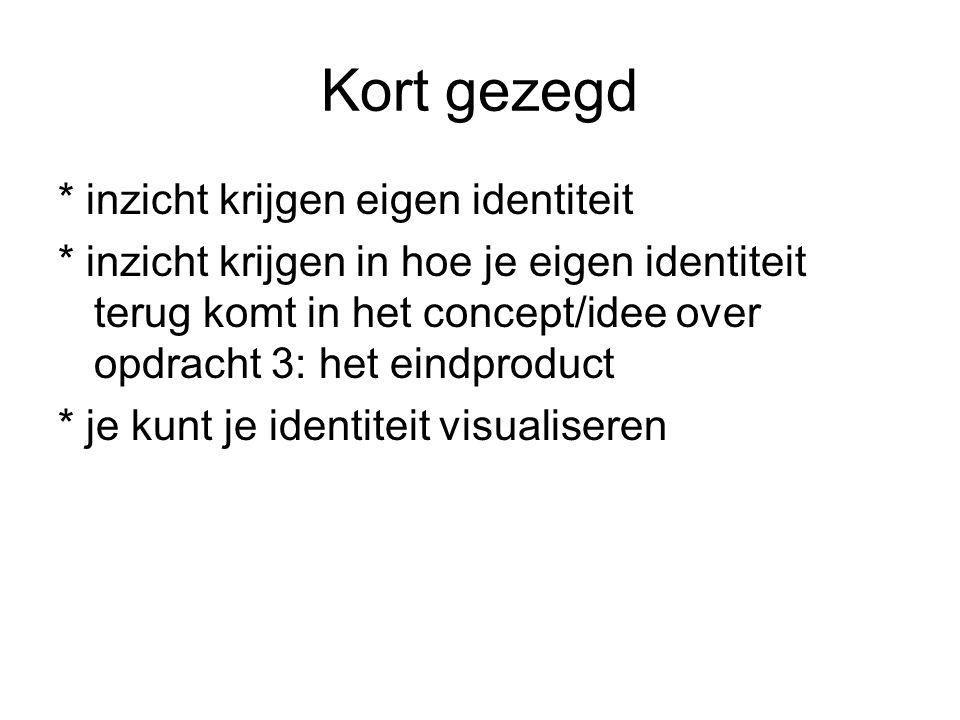 Kort gezegd * inzicht krijgen eigen identiteit * inzicht krijgen in hoe je eigen identiteit terug komt in het concept/idee over opdracht 3: het eindproduct * je kunt je identiteit visualiseren