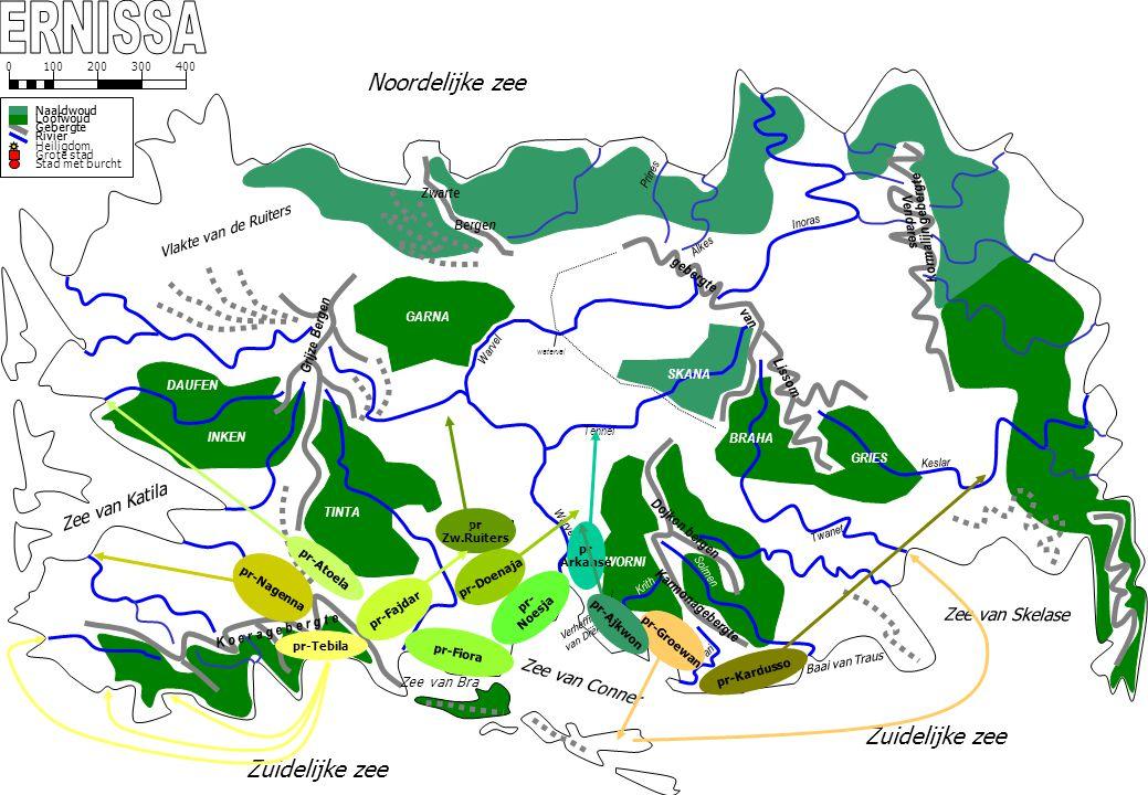 GARNA Warvel waterval Noordelijke zee Zwarte Bergen SKANA TINTA Warvel Grijze Bergen Vlakte van de Ruiters INKEN DAUFEN Krith Pari Zuidelijke zee Zee