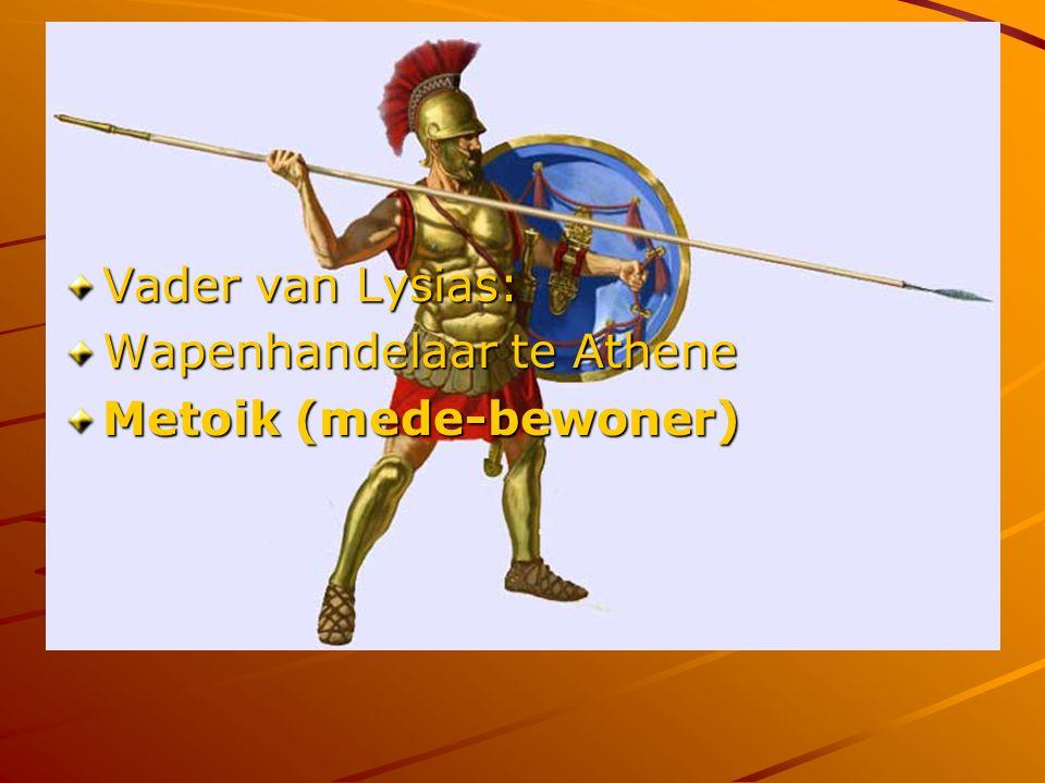 Vader van Lysias: Wapenhandelaar te Athene Metoik (mede-bewoner)
