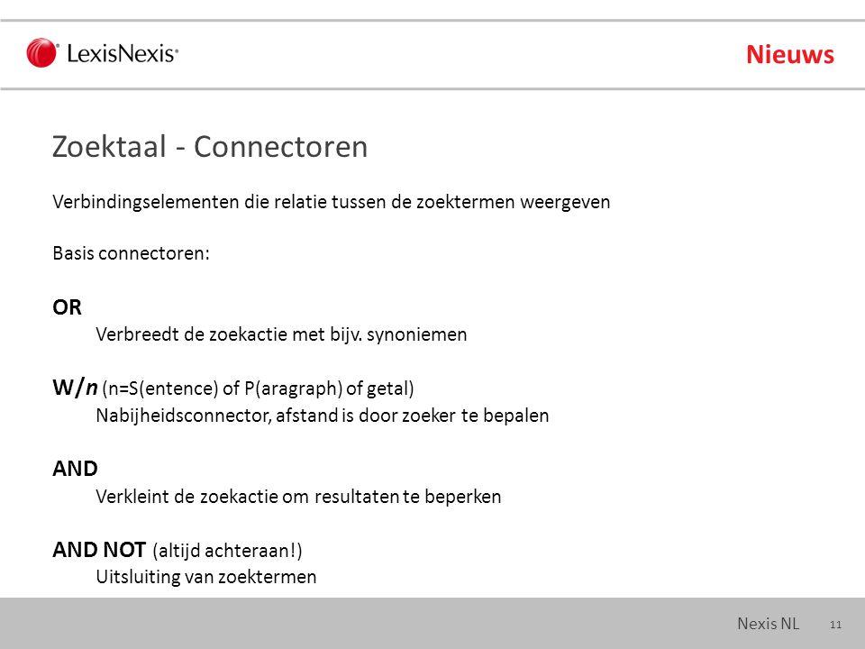 11 Nexis NL Nieuws Verbindingselementen die relatie tussen de zoektermen weergeven Basis connectoren: OR Verbreedt de zoekactie met bijv.