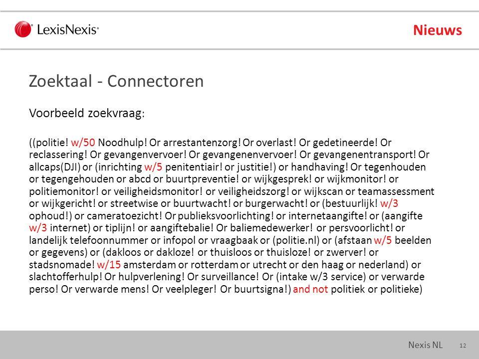 12 Nexis NL Nieuws Voorbeeld zoekvraag : ((politie.