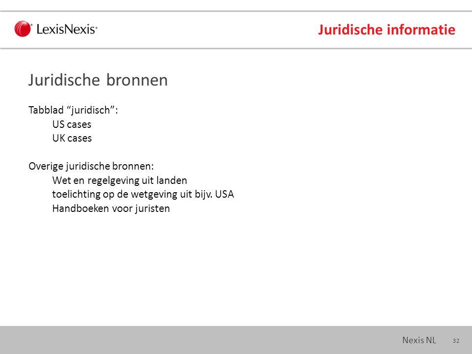 32 Nexis NL Juridische informatie Tabblad juridisch : US cases UK cases Overige juridische bronnen: Wet en regelgeving uit landen toelichting op de wetgeving uit bijv.