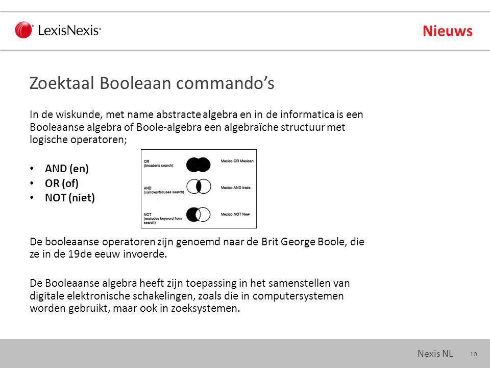 10 Nexis NL In de wiskunde, met name abstracte algebra en in de informatica is een Booleaanse algebra of Boole-algebra een algebraïche structuur met logische operatoren; AND (en) OR (of) NOT (niet) De booleaanse operatoren zijn genoemd naar de Brit George Boole, die ze in de 19de eeuw invoerde.