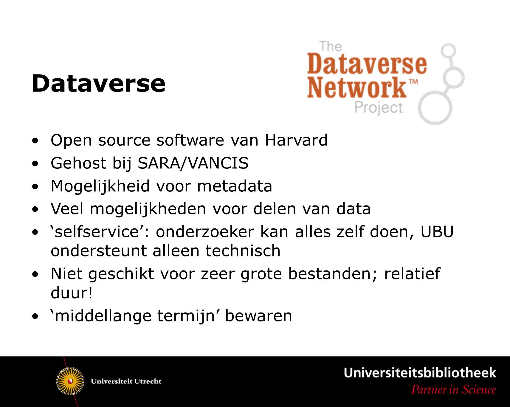Dataverse Toekomst Aansluiten of surfconext/federatie Samenwerken met andere universiteiten: Tilburg.