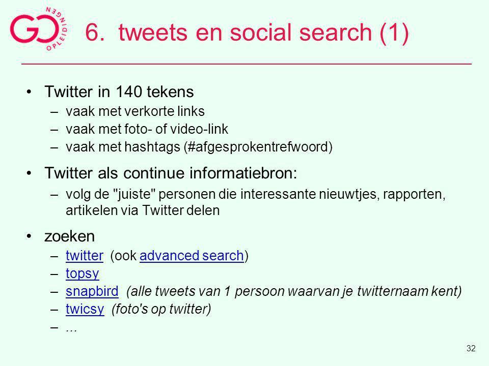 Twitter in 140 tekens –vaak met verkorte links –vaak met foto- of video-link –vaak met hashtags (#afgesprokentrefwoord) Twitter als continue informati