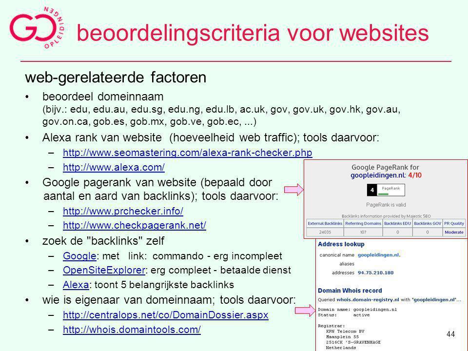 web-gerelateerde factoren beoordeel domeinnaam (bijv.: edu, edu.au, edu.sg, edu.ng, edu.lb, ac.uk, gov, gov.uk, gov.hk, gov.au, gov.on.ca, gob.es, gob