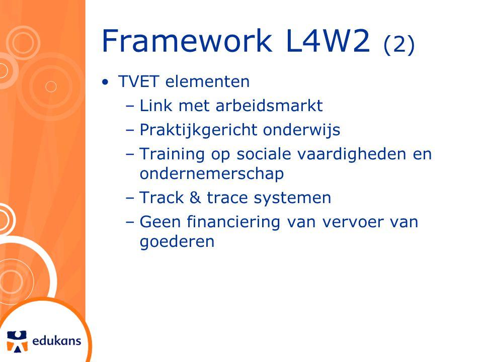 Framework L4W2 (2) TVET elementen –Link met arbeidsmarkt –Praktijkgericht onderwijs –Training op sociale vaardigheden en ondernemerschap –Track & trace systemen –Geen financiering van vervoer van goederen