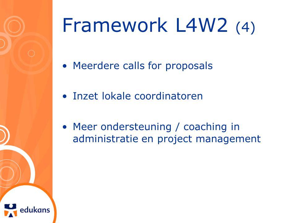 Framework L4W2 (4) Meerdere calls for proposals Inzet lokale coordinatoren Meer ondersteuning / coaching in administratie en project management