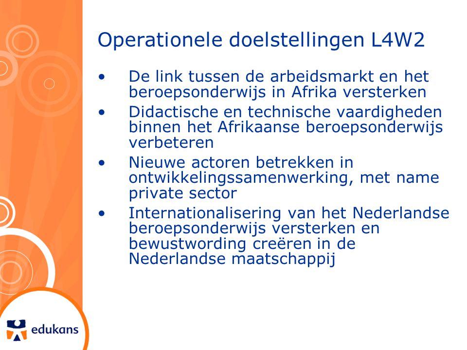 Operationele doelstellingen L4W2 De link tussen de arbeidsmarkt en het beroepsonderwijs in Afrika versterken Didactische en technische vaardigheden binnen het Afrikaanse beroepsonderwijs verbeteren Nieuwe actoren betrekken in ontwikkelingssamenwerking, met name private sector Internationalisering van het Nederlandse beroepsonderwijs versterken en bewustwording creëren in de Nederlandse maatschappij
