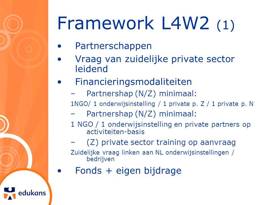 Framework L4W2 (1) Partnerschappen Vraag van zuidelijke private sector leidend Financieringsmodaliteiten –Partnershap (N/Z) minimaal: 1NGO/ 1 onderwijsinstelling / 1 private p.