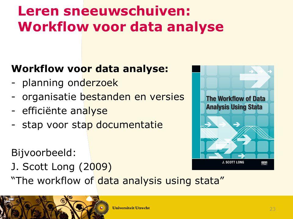 Leren sneeuwschuiven: Workflow voor data analyse Workflow voor data analyse: -planning onderzoek -organisatie bestanden en versies -efficiënte analyse -stap voor stap documentatie Bijvoorbeeld: J.