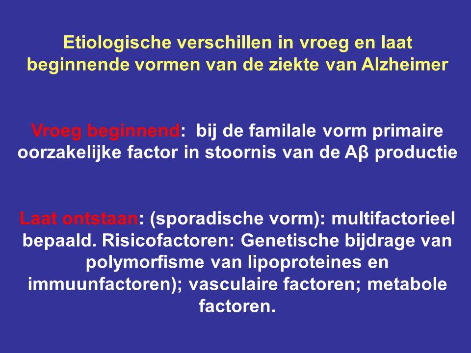 Etiologische verschillen in vroeg en laat beginnende vormen van de ziekte van Alzheimer Vroeg beginnend: bij de familale vorm primaire oorzakelijke fa