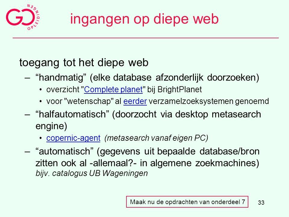 """33 ingangen op diepe web toegang tot het diepe web –""""handmatig"""" (elke database afzonderlijk doorzoeken) overzicht"""