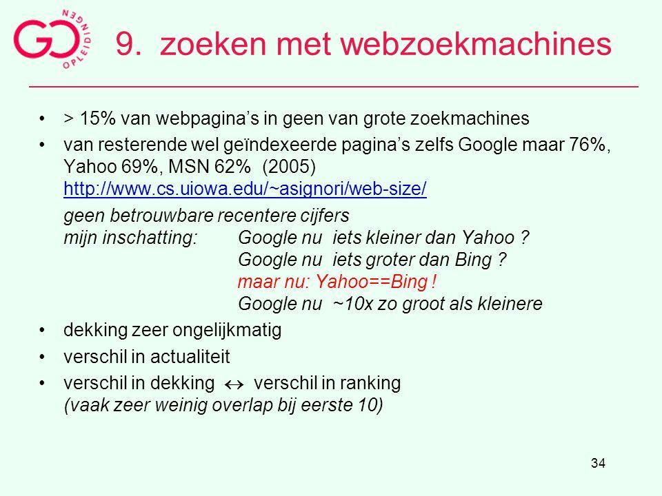 34 9.zoeken met webzoekmachines > 15% van webpagina's in geen van grote zoekmachines van resterende wel geïndexeerde pagina's zelfs Google maar 76%, Y