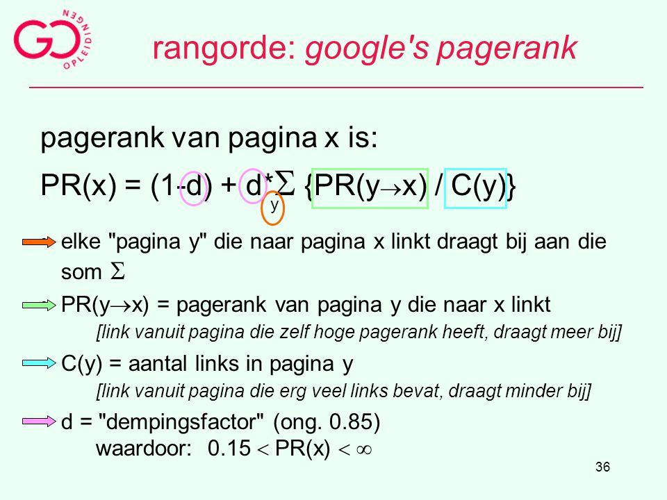 36 rangorde: google's pagerank pagerank van pagina x is: PR(x) = (1-d) + d*  {PR(y  x) / C(y)} y elke