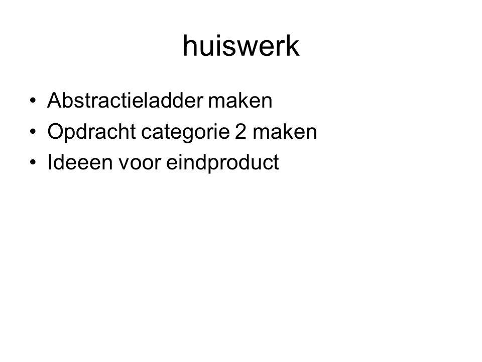huiswerk Abstractieladder maken Opdracht categorie 2 maken Ideeen voor eindproduct
