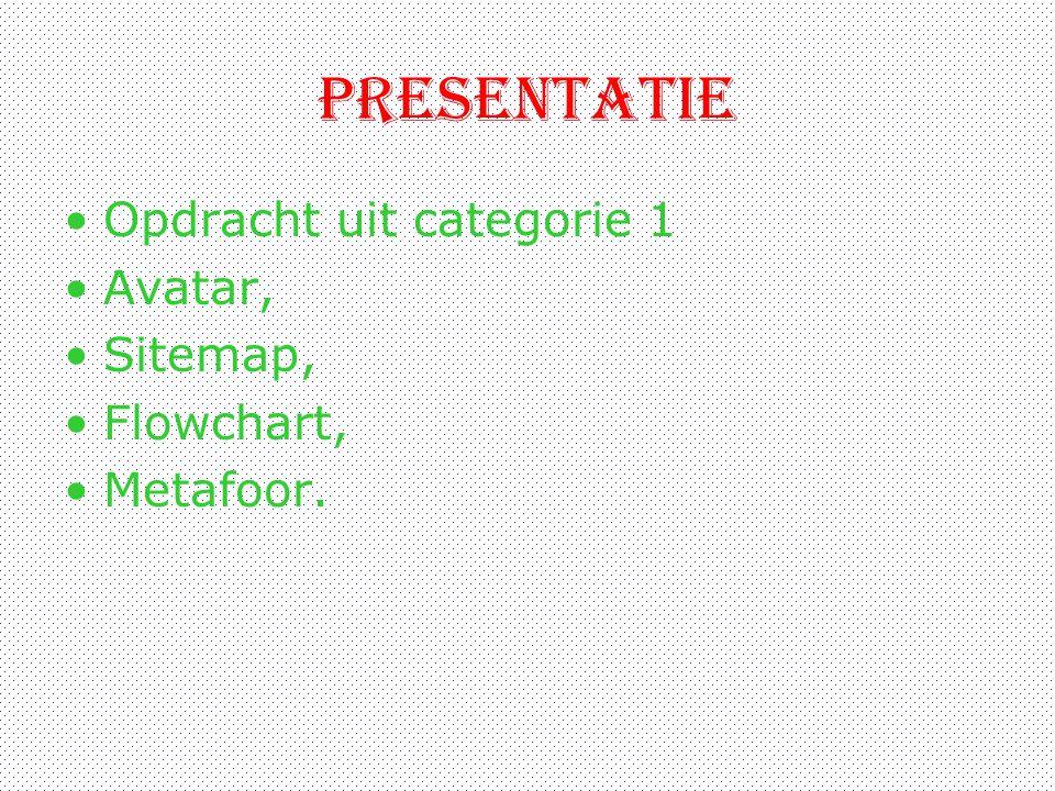 presentatie Opdracht uit categorie 1 Avatar, Sitemap, Flowchart, Metafoor.