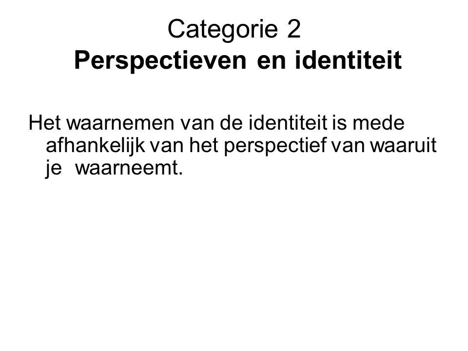Categorie 2 Perspectieven en identiteit Het waarnemen van de identiteit is mede afhankelijk van het perspectief van waaruit jewaarneemt.