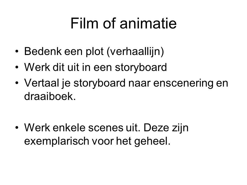 Film of animatie Bedenk een plot (verhaallijn) Werk dit uit in een storyboard Vertaal je storyboard naar enscenering en draaiboek. Werk enkele scenes