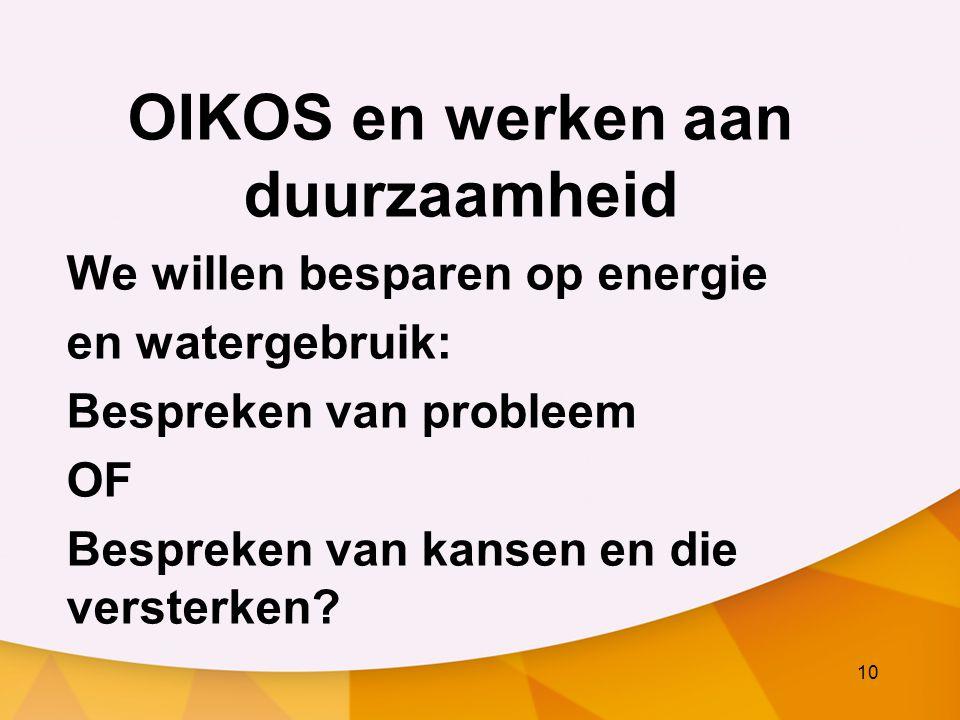 10 OIKOS en werken aan duurzaamheid We willen besparen op energie en watergebruik: Bespreken van probleem OF Bespreken van kansen en die versterken?