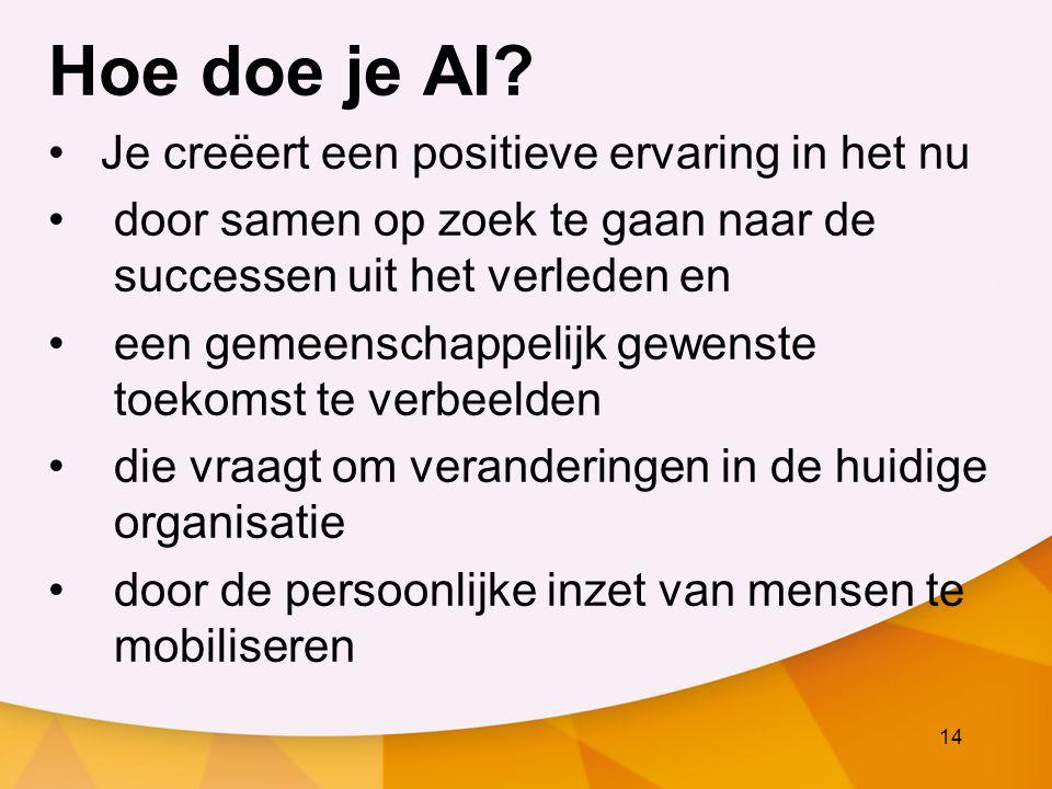 14 Hoe doe je AI? Je creëert een positieve ervaring in het nu door samen op zoek te gaan naar de successen uit het verleden en een gemeenschappelijk g